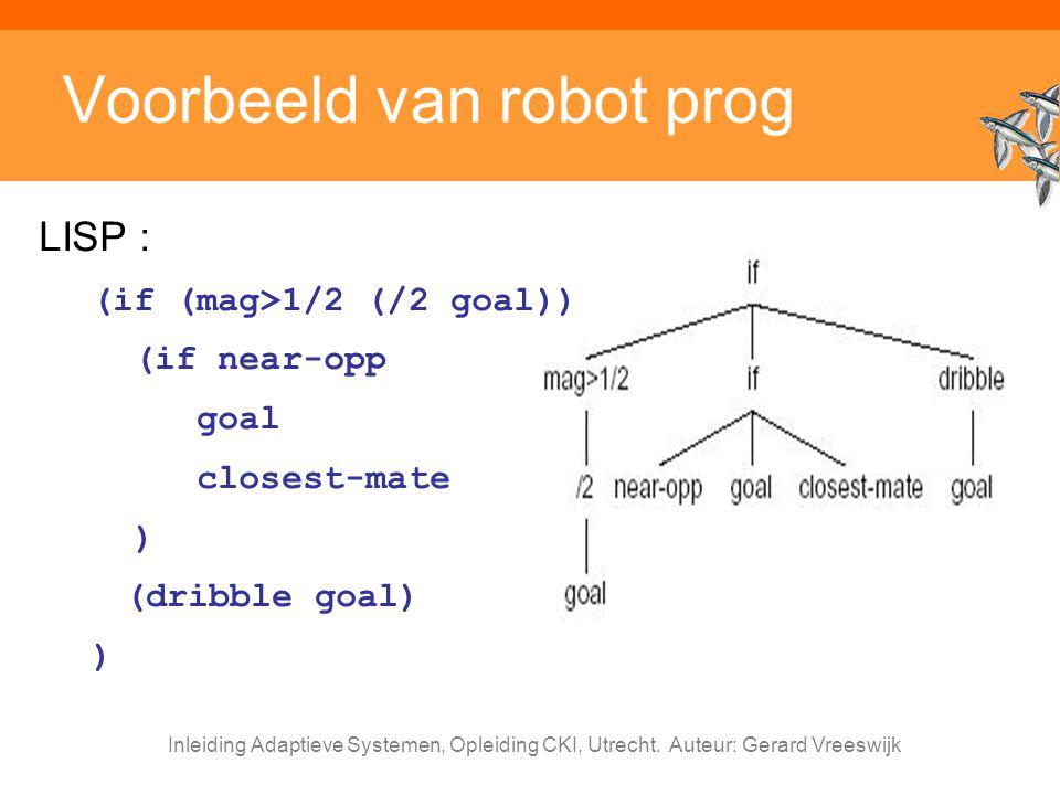 Inleiding Adaptieve Systemen, Opleiding CKI, Utrecht. Auteur: Gerard Vreeswijk Voorbeeld van robot prog LISP : (if (mag>1/2 (/2 goal)) (if near-opp go