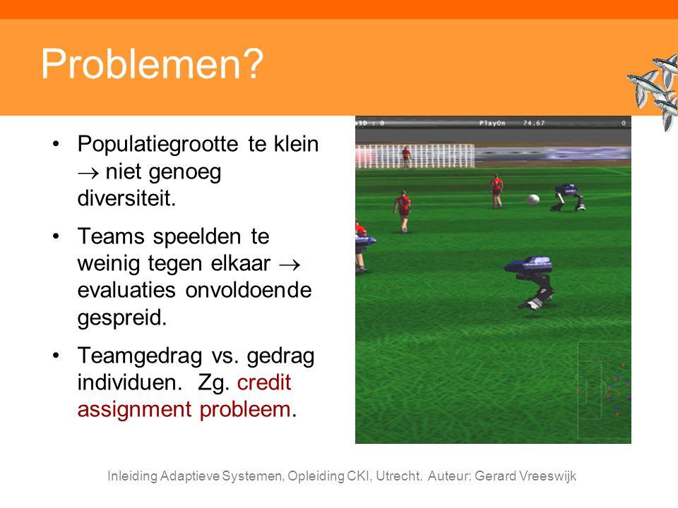 Inleiding Adaptieve Systemen, Opleiding CKI, Utrecht. Auteur: Gerard Vreeswijk Problemen? Populatiegrootte te klein  niet genoeg diversiteit. Teams s