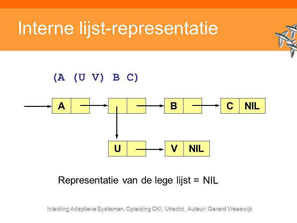 Inleiding Adaptieve Systemen, Opleiding CKI, Utrecht. Auteur: Gerard Vreeswijk Interne lijst-representatie ABUCNILV (A (U V) B C) Representatie van de