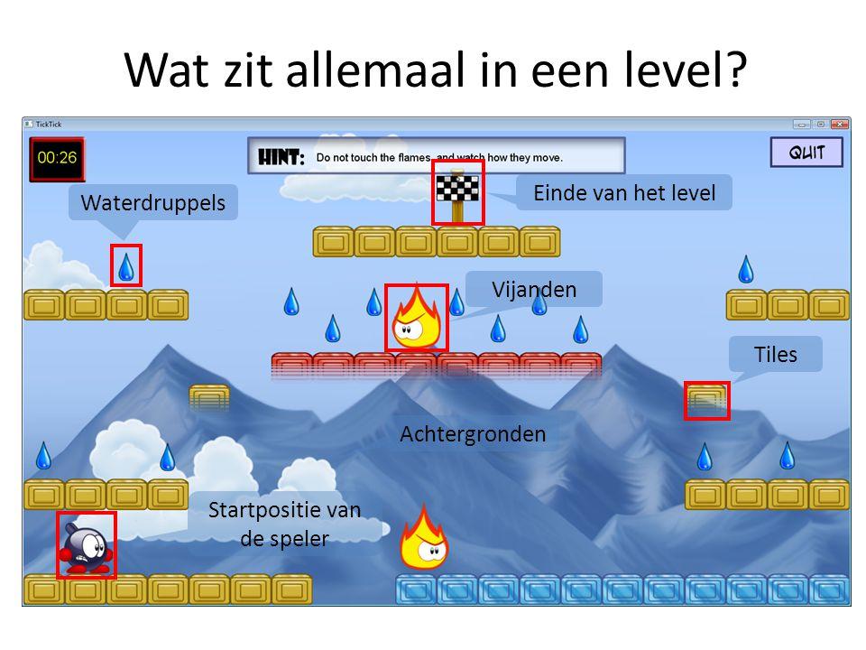 Wat zit allemaal in een level? Startpositie van de speler Waterdruppels Tiles Vijanden Einde van het level Achtergronden