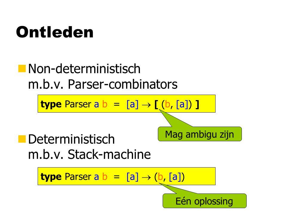 Ontleden nNon-deterministisch m.b.v. Parser-combinators nDeterministisch m.b.v.