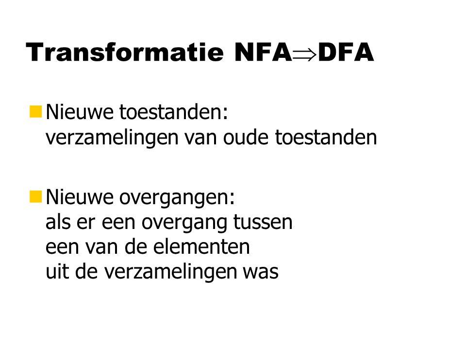 Transformatie NFA  DFA nNieuwe toestanden: verzamelingen van oude toestanden nNieuwe overgangen: als er een overgang tussen een van de elementen uit de verzamelingen was