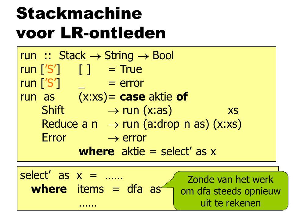 Stackmachine voor LR-ontleden run :: Stack  String  Bool run ['S'] [ ]= True run ['S'] _= error run as(x:xs)= case aktie of Shift  run (x:as) xs Reduce a n  run (a:drop n as) (x:xs) Error  error where aktie = select' as x select' as x = …… where items = dfa as …… Zonde van het werk om dfa steeds opnieuw uit te rekenen