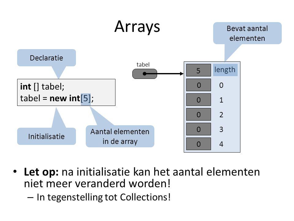 Arrays int [] tabel; tabel = new int[5]; tabel 0 length 5 1 2 0 0 0 30 40 Declaratie Initialisatie Aantal elementen in de array Bevat aantal elementen Let op: na initialisatie kan het aantal elementen niet meer veranderd worden.