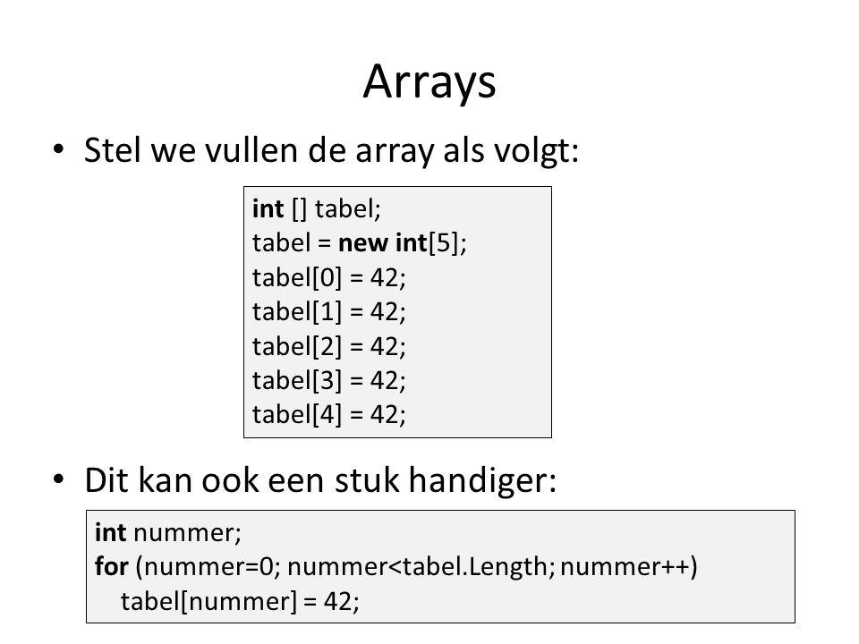 Arrays Stel we vullen de array als volgt: Dit kan ook een stuk handiger: int [] tabel; tabel = new int[5]; tabel[0] = 42; tabel[1] = 42; tabel[2] = 42; tabel[3] = 42; tabel[4] = 42; int nummer; for (nummer=0; nummer<tabel.Length; nummer++) tabel[nummer] = 42;