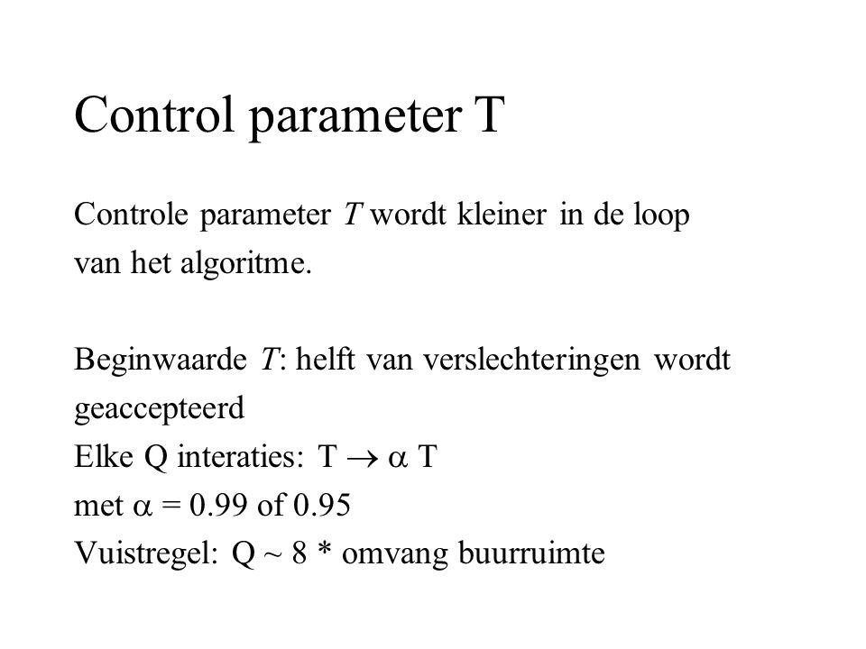 Control parameter T Controle parameter T wordt kleiner in de loop van het algoritme. Beginwaarde T: helft van verslechteringen wordt geaccepteerd Elke