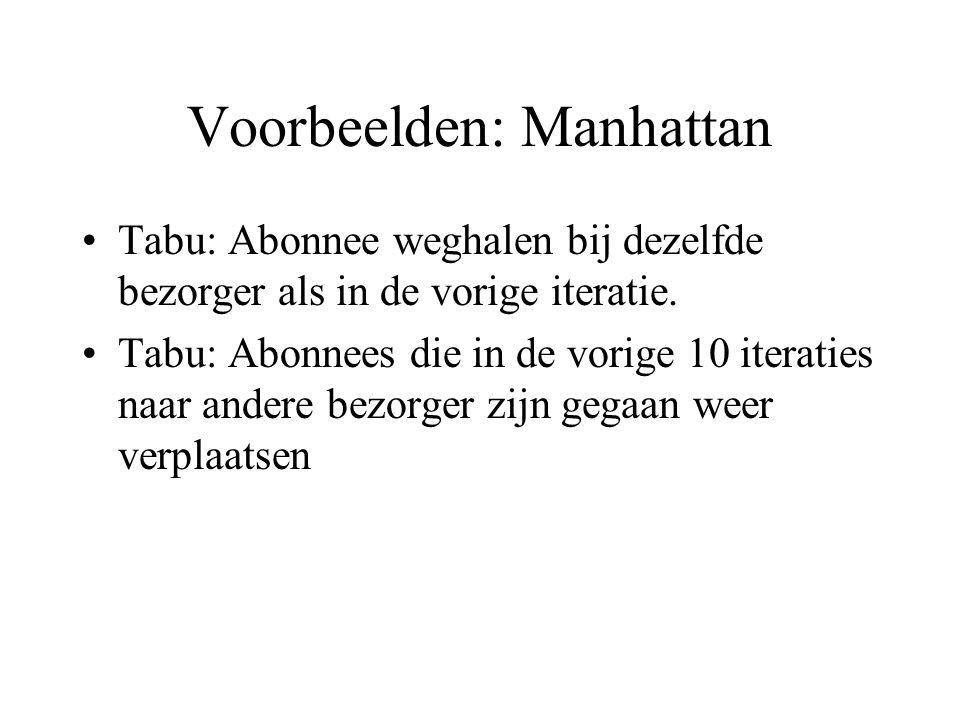 Voorbeelden: Manhattan Tabu: Abonnee weghalen bij dezelfde bezorger als in de vorige iteratie. Tabu: Abonnees die in de vorige 10 iteraties naar ander