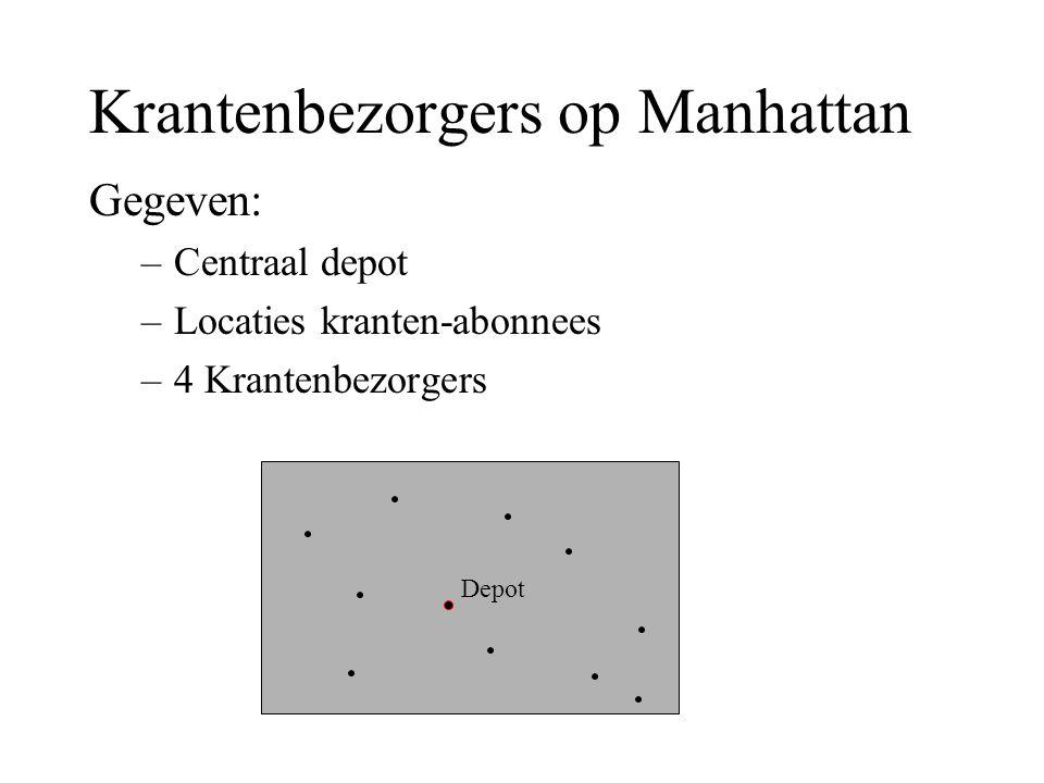 Depot Krantenbezorgers op Manhattan Gegeven: –Centraal depot –Locaties kranten-abonnees –4 Krantenbezorgers