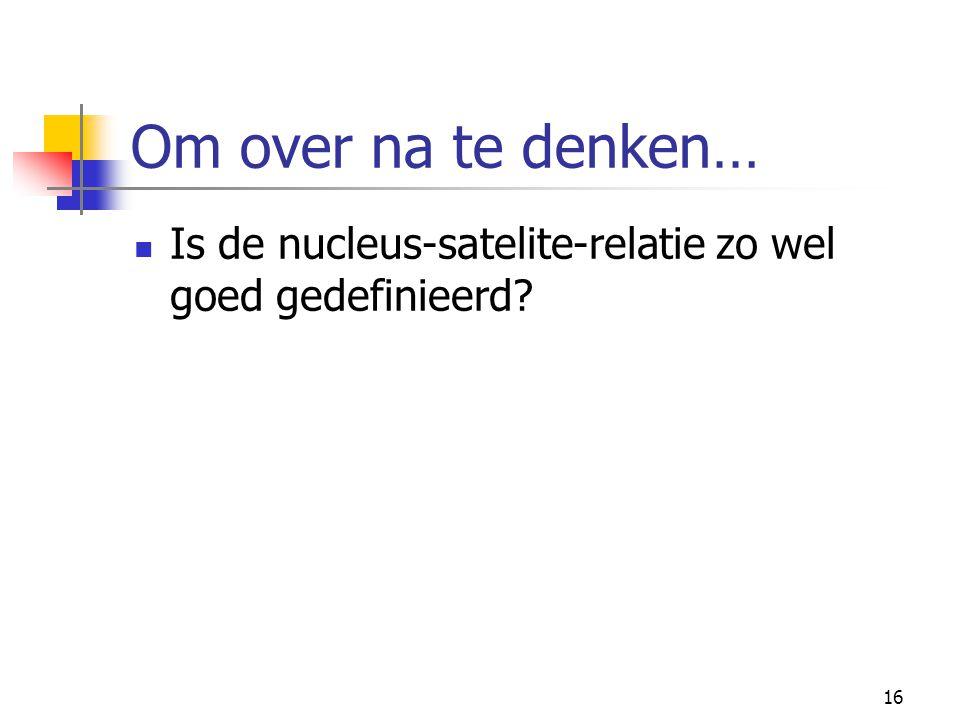 16 Om over na te denken… Is de nucleus-satelite-relatie zo wel goed gedefinieerd