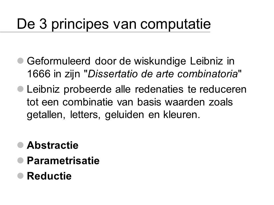De 3 principes van computatie Geformuleerd door de wiskundige Leibniz in 1666 in zijn Dissertatio de arte combinatoria Leibniz probeerde alle redenaties te reduceren tot een combinatie van basis waarden zoals getallen, letters, geluiden en kleuren.