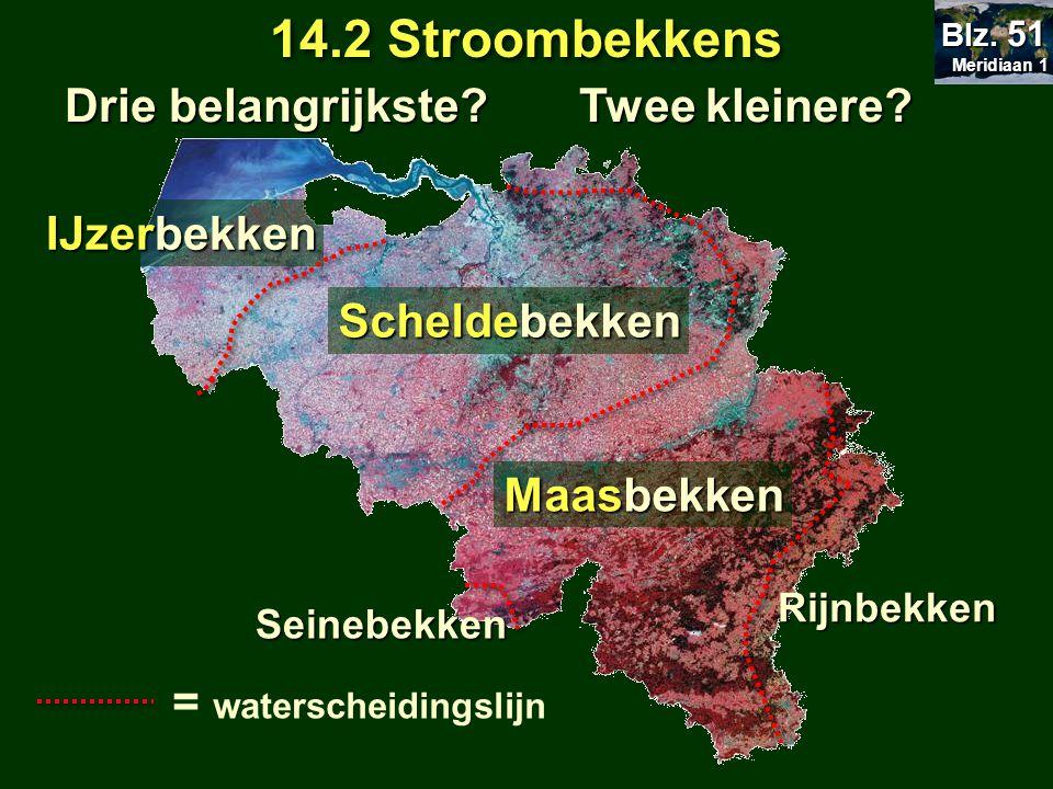 Rijnbekken Seinebekken IJzerbekken Scheldebekken Maasbekken 14.2 Stroombekkens Meridiaan 1 Meridiaan 1 Blz. 51 = waterscheidingslijn Drie belangrijkst