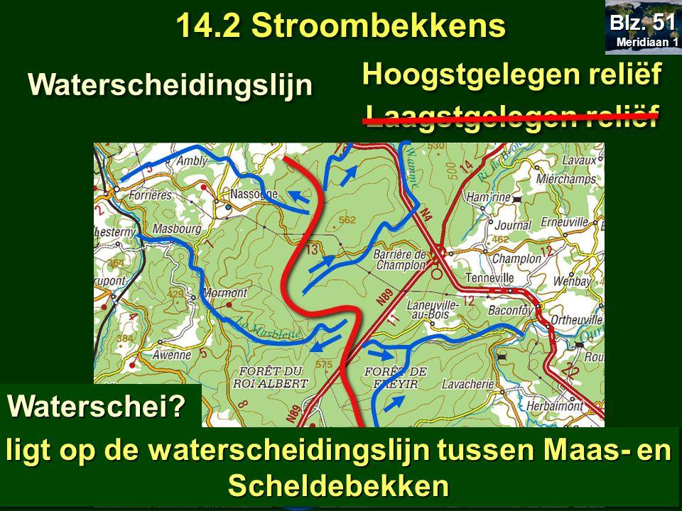 14.2 Stroombekkens Meridiaan 1 Meridiaan 1 Blz. 51 Waterscheidingslijn Hoogstgelegen reliëf Laagstgelegen reliëf Waterschei? ligt op de waterscheiding