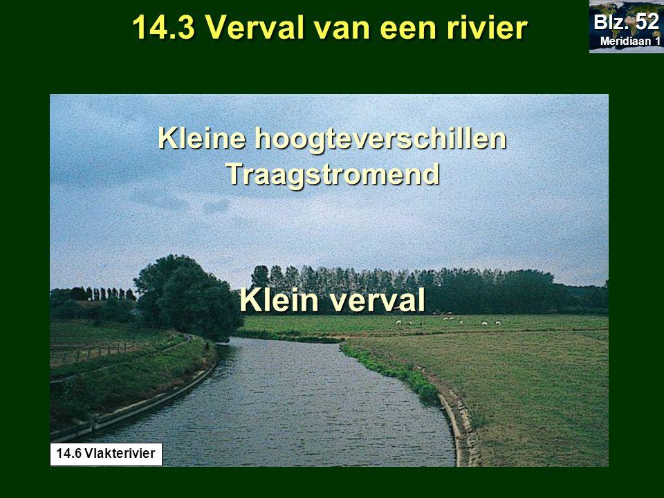 Klein verval Kleine hoogteverschillen Traagstromend 14.3 Verval van een rivier Meridiaan 1 Meridiaan 1 Blz. 52 14.6 Vlakterivier