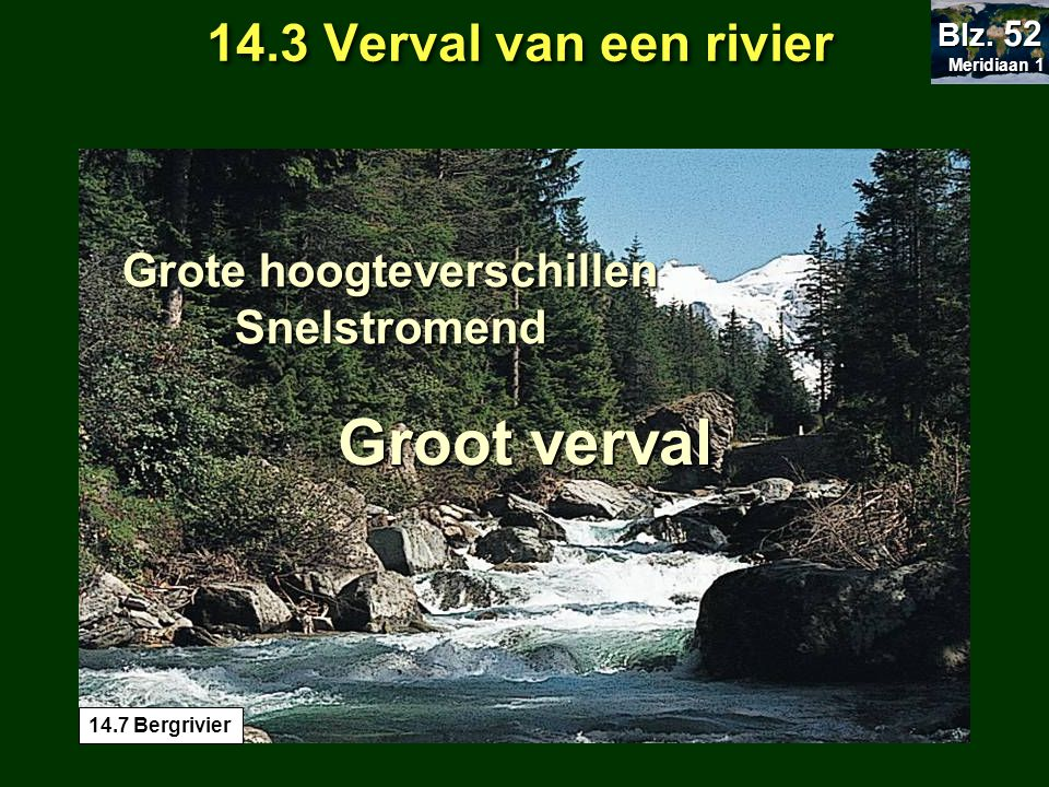 Groot verval Grote hoogteverschillen Snelstromend 14.3 Verval van een rivier Meridiaan 1 Meridiaan 1 Blz. 52 14.7 Bergrivier