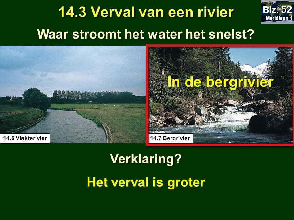Waar stroomt het water het snelst? 14.3 Verval van een rivier Meridiaan 1 Meridiaan 1 Blz. 52 14.7 Bergrivier14.6 Vlakterivier In de bergrivier Het ve