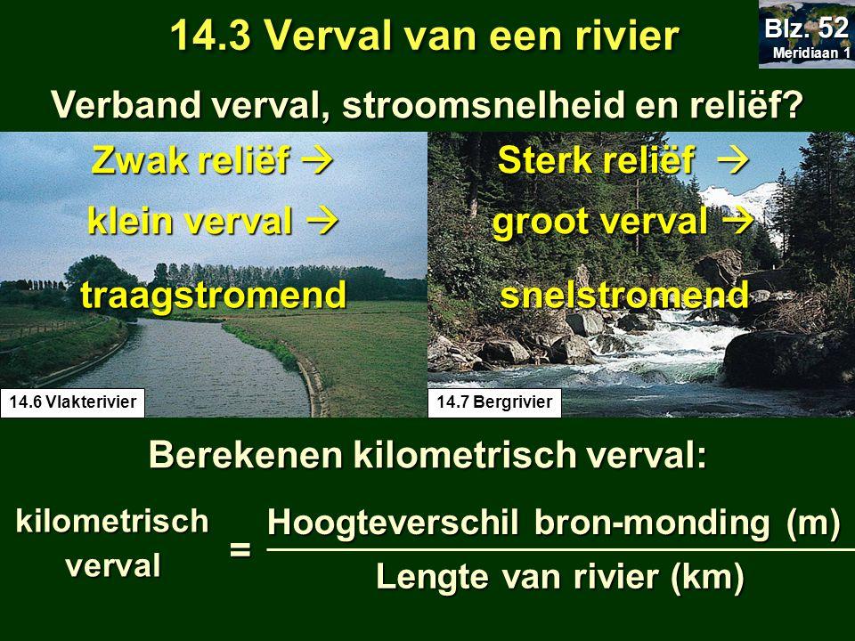 Verband verval, stroomsnelheid en reliëf? 14.3 Verval van een rivier Meridiaan 1 Meridiaan 1 Blz. 52 14.7 Bergrivier14.6 Vlakterivier Zwak reliëf  kl