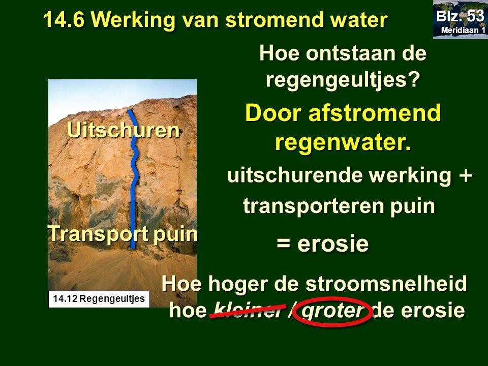 14.6 Werking van stromend water Meridiaan 1 Meridiaan 1 Blz. 53 Hoe ontstaan de regengeultjes? Door afstromend regenwater. 14.12 Regengeultjes uitschu