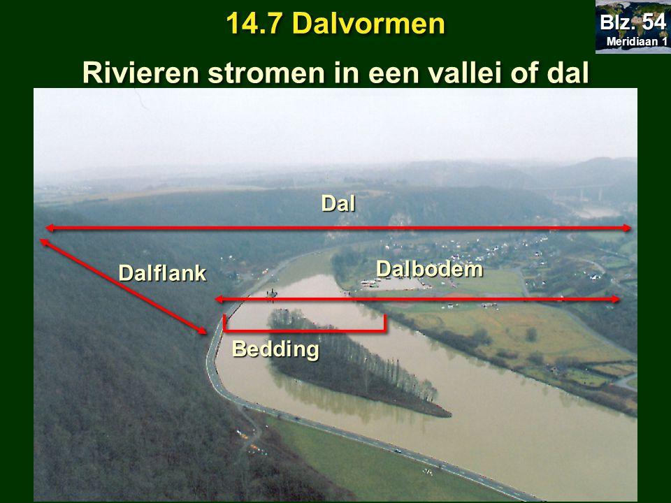 Dalbodem Dalflank Dal Bedding Rivieren stromen in een vallei of dal Meridiaan 1 Meridiaan 1 Blz. 54 14.7 Dalvormen
