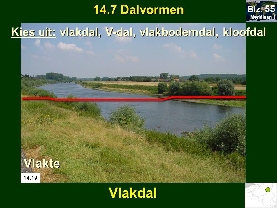 Meridiaan 1 Meridiaan 1 Blz. 55 Vlakte 14.19 Vlakdal Kies uit: vlakdal, V-dal, vlakbodemdal, kloofdal