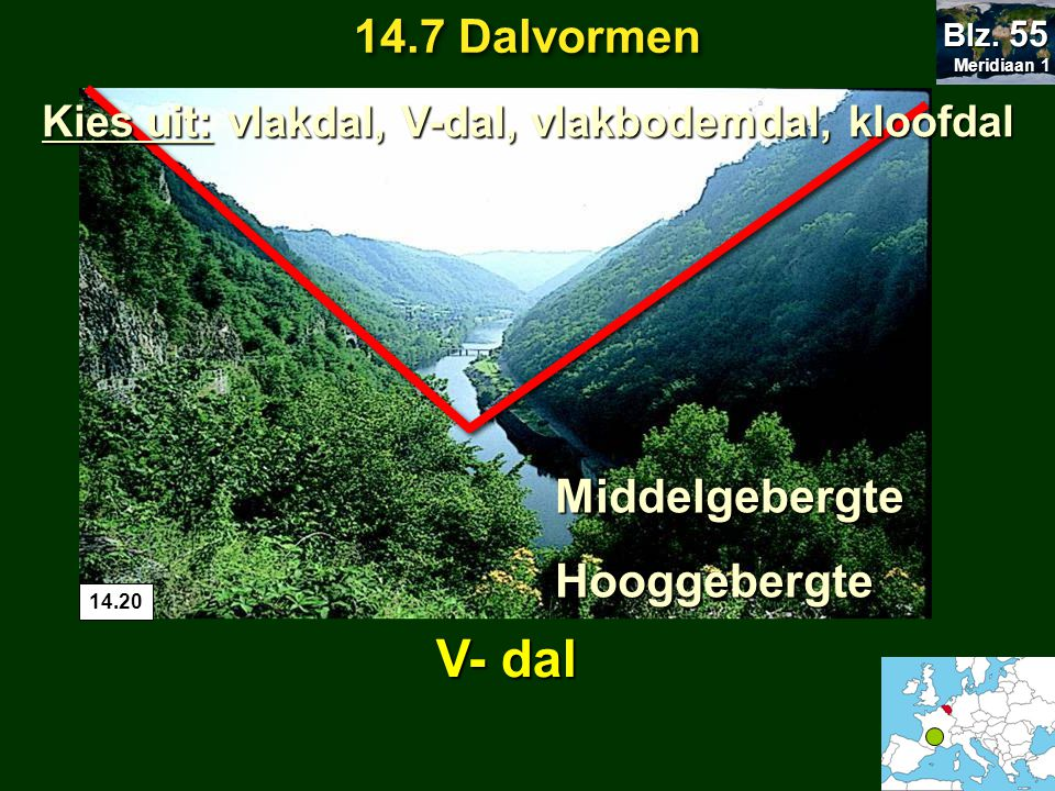 14.7 Dalvormen Meridiaan 1 Meridiaan 1 Blz. 55 V- dal MiddelgebergteHooggebergte 14.20 Kies uit: vlakdal, V-dal, vlakbodemdal, kloofdal