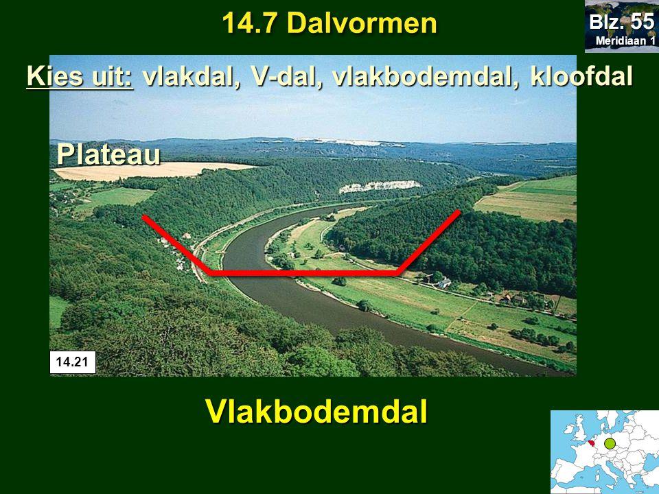 14.7 Dalvormen Meridiaan 1 Meridiaan 1 Blz. 55 Plateau Vlakbodemdal 14.21 Kies uit: vlakdal, V-dal, vlakbodemdal, kloofdal