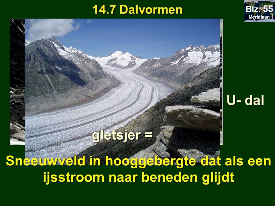 14.7 Dalvormen Meridiaan 1 Meridiaan 1 Blz. 55 Wordt uitgeschuurd door U- dal gletsjer = Sneeuwveld in hooggebergte dat als een ijsstroom naar beneden