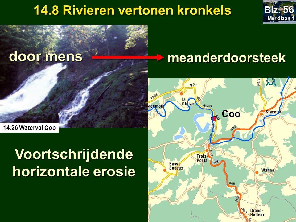 door mens meanderdoorsteek Coo Voortschrijdende horizontale erosie 14.8 Rivieren vertonen kronkels Meridiaan 1 Meridiaan 1 Blz. 56 14.26 Waterval Coo