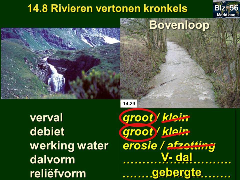 14.8 Rivieren vertonen kronkels Meridiaan 1 Meridiaan 1 Blz. 56 14.29 groot / klein erosie / afzetting ………………………..……………………… groot / klein erosie / afz