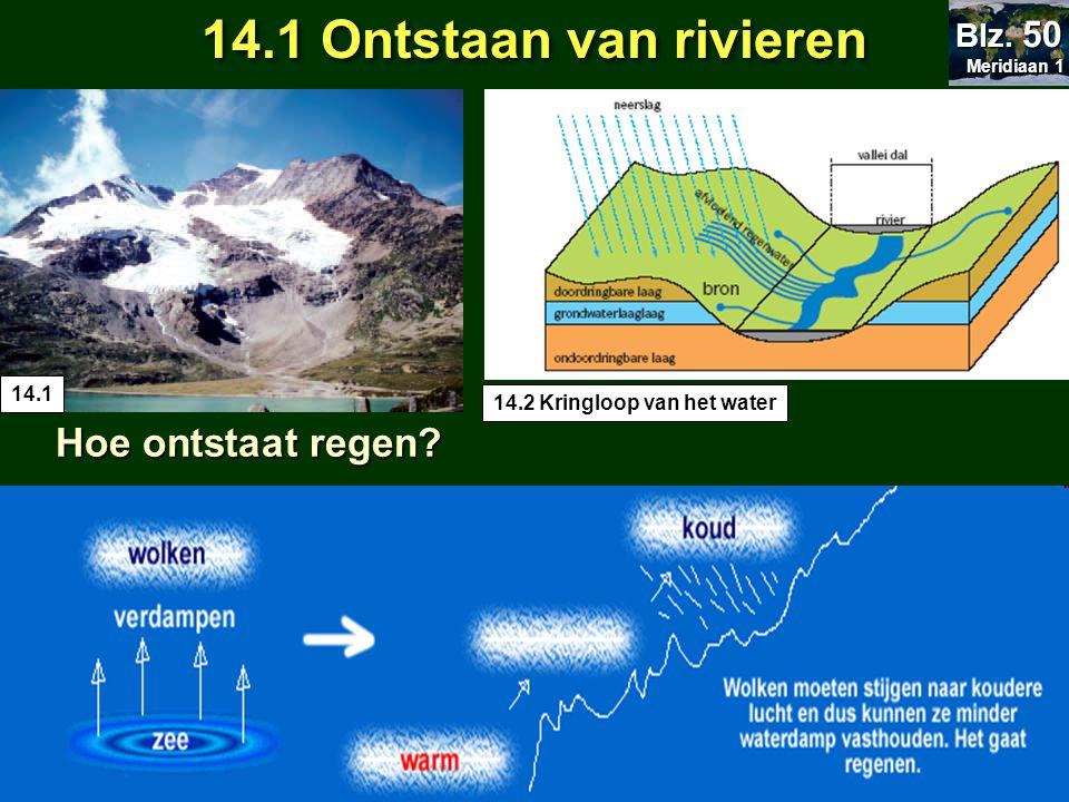 14.1 Ontstaan van rivieren Hoe ontstaat regen? Hoe ontstaat regen? 14.2 Kringloop van het water 14.1 Meridiaan 1 Meridiaan 1 Blz. 50 Verdamping water