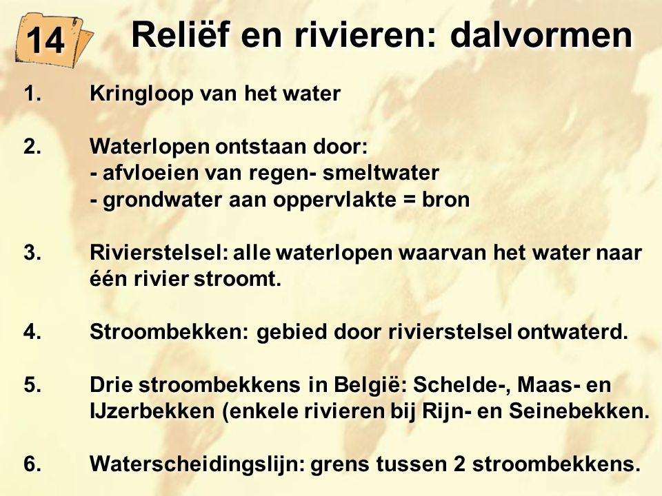 14 Reliëf en rivieren: dalvormen 1.Kringloop van het water 2.Waterlopen ontstaan door: - afvloeien van regen- smeltwater - grondwater aan oppervlakte