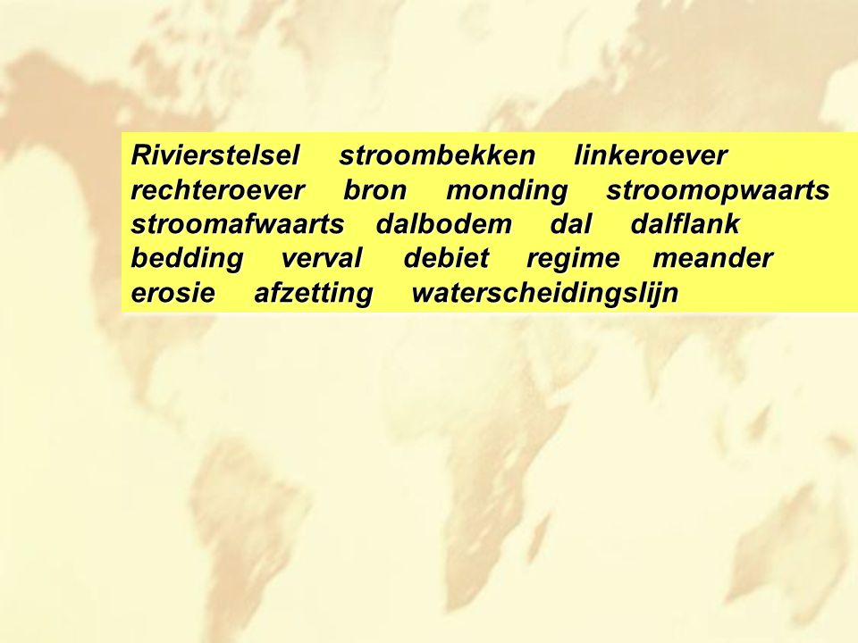 Rivierstelsel stroombekken linkeroever rechteroever bron monding stroomopwaarts stroomafwaarts dalbodem dal dalflank bedding verval debiet regime mean