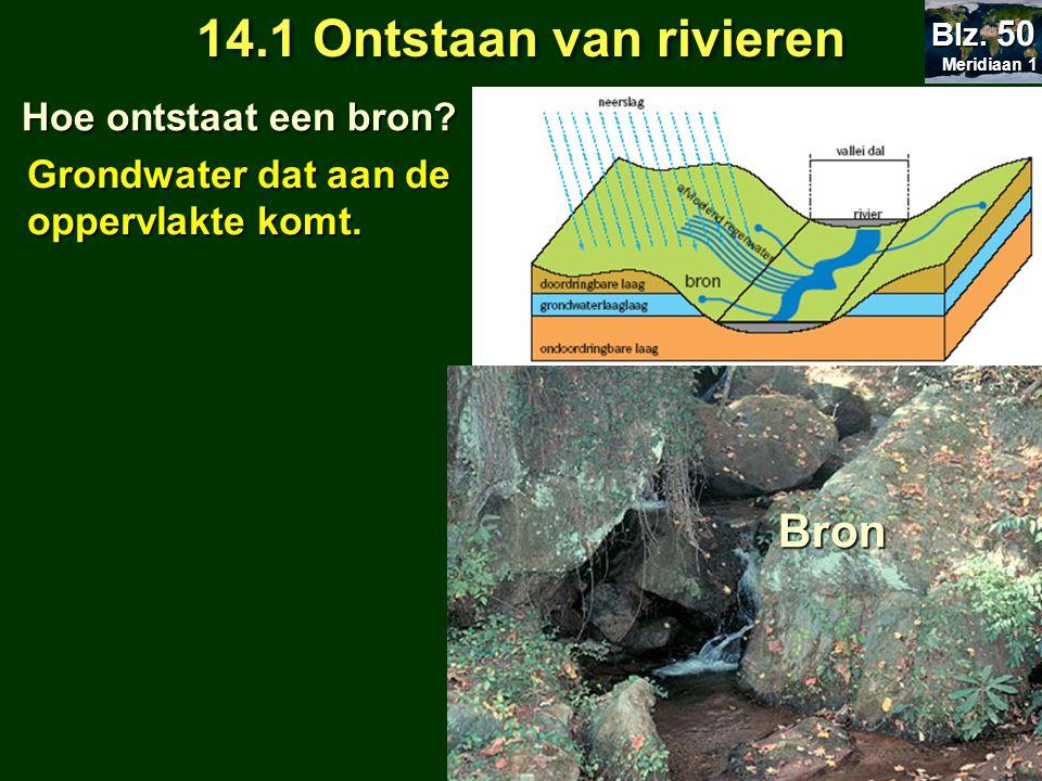 14.1 Ontstaan van rivieren Hoe ontstaat een bron? Hoe ontstaat een bron? 14.2 Kringloop van het water Meridiaan 1 Meridiaan 1 Blz. 50 Grondwater dat a