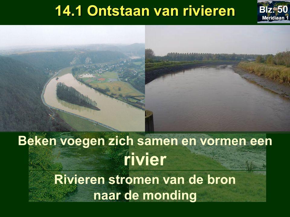 Rivier ontstaat als een beekje aan de bron 14.1 Ontstaan van rivieren Beek Meridiaan 1 Meridiaan 1 Blz. 50 Beken voegen zich samen en vormen een rivie