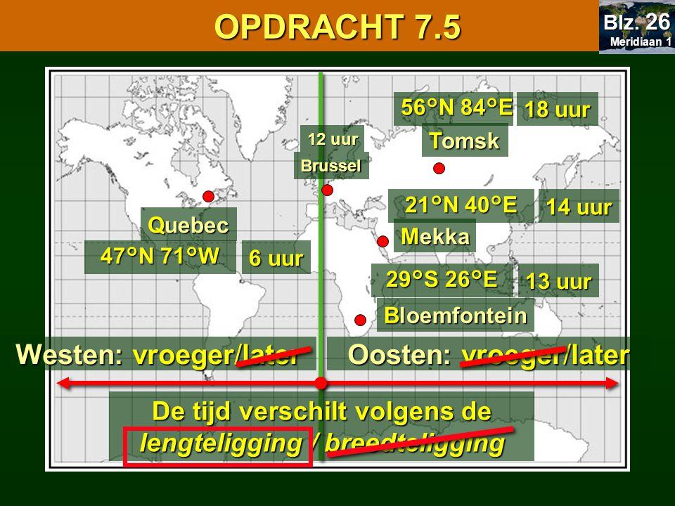 Tomsk Bloemfontein 56°N 84°E 29°S 26°E Mekka Quebec 21°N 40°E 47°N 71°W 18 uur 13 uur 14 uur 6 uur Oosten: vroeger/later De tijd verschilt volgens de