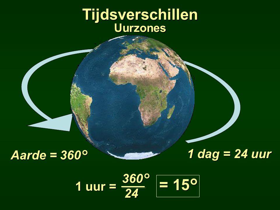 1 dag = 24 uur 1 uur = 360°24 = 15° Aarde = 360° Tijdsverschillen Uurzones