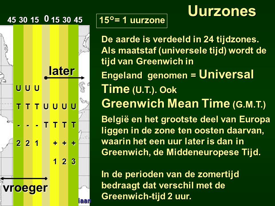 De aarde is verdeeld in 24 tijdzones. Als maatstaf (universele tijd) wordt de tijd van Greenwich in Engeland genomen = Universal Time (U.T.). Ook Gree