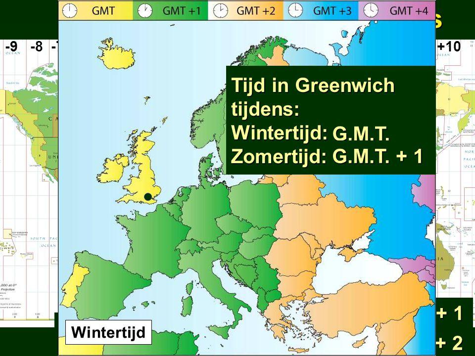 uurzonesuurzones -9 -8 -7 -6 -5 -4 -3 -2 -1 0 +1 +2 -3 +4 +5 +6 +7 +8 +9 +10 Middeneuropese tijd: Wintertijd: G.M.T. + 1 Zomertijd: G.M.T. + 2 Wintert
