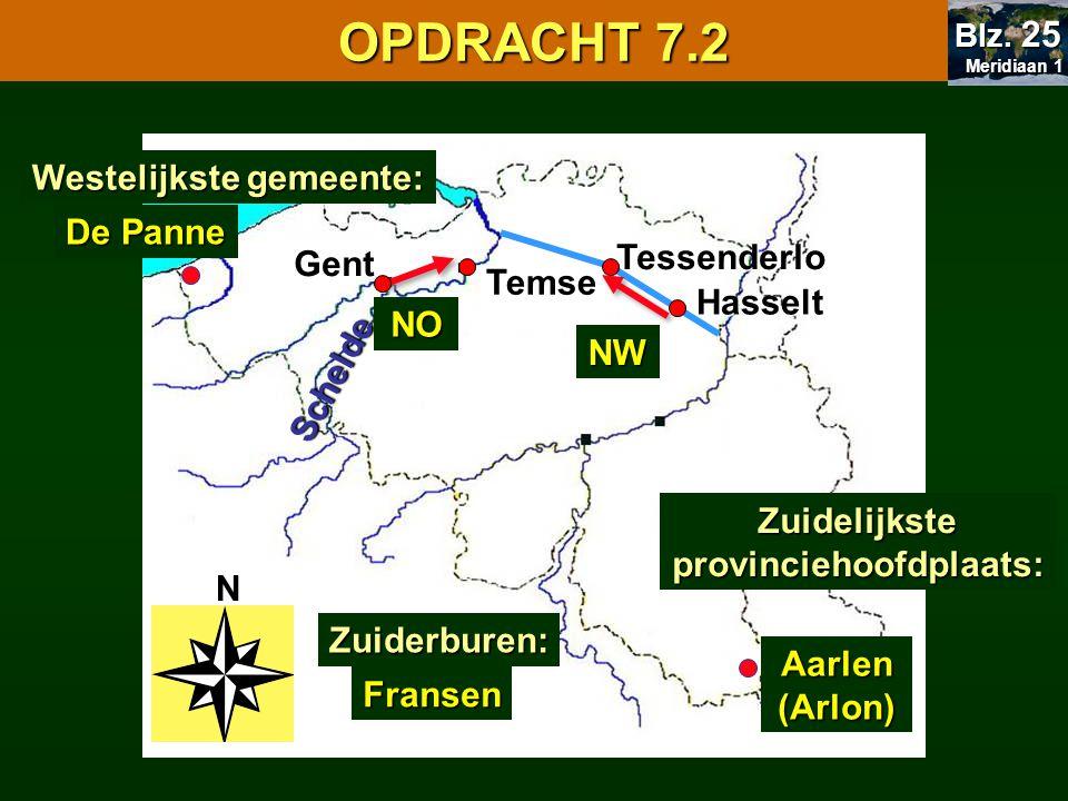N Gent Temse Hasselt Tessenderlo Schelde Aarlen (Arlon) NO NW 7.1 Oriënteren OPDRACHT 7.2 Meridiaan 1 Meridiaan 1 Blz. 25 Zuiderburen: Fransen Westeli