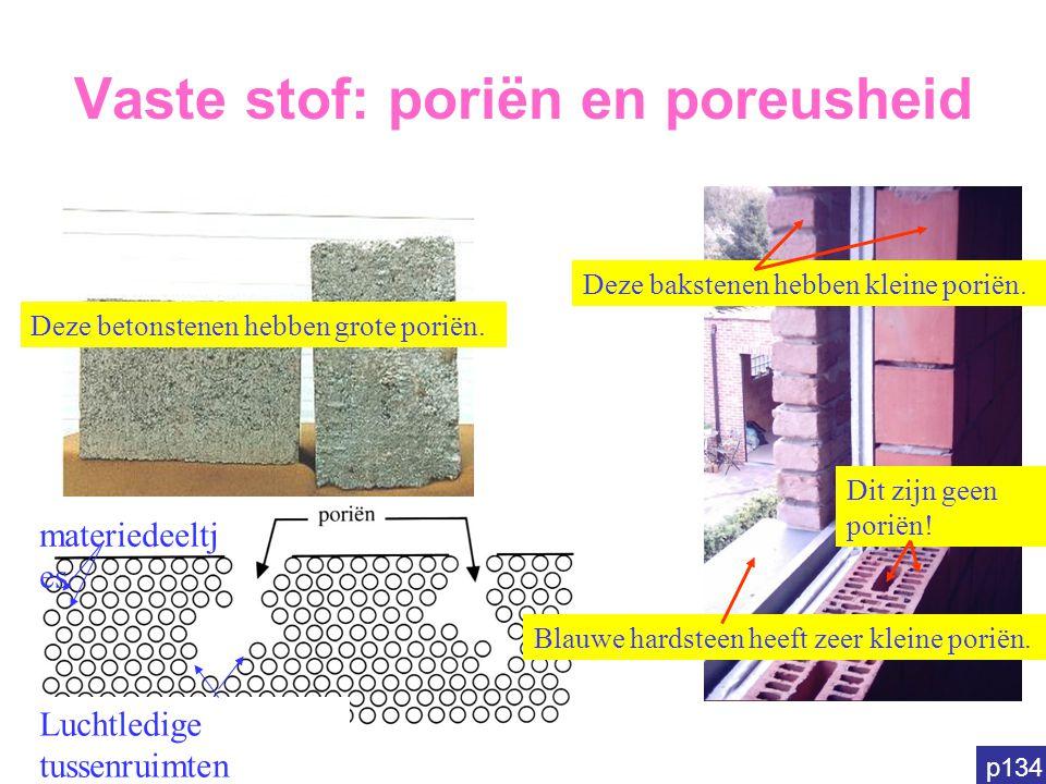 Vaste stof: poriën en poreusheid Deze betonstenen hebben grote poriën. Deze bakstenen hebben kleine poriën. Dit zijn geen poriën! Blauwe hardsteen hee