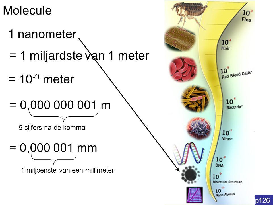 Molecule p126 1 nanometer = 1 miljardste van 1 meter = 0,000 000 001 m 9 cijfers na de komma = 0,000 001 mm 1 miljoenste van een millimeter = 10 -9 me