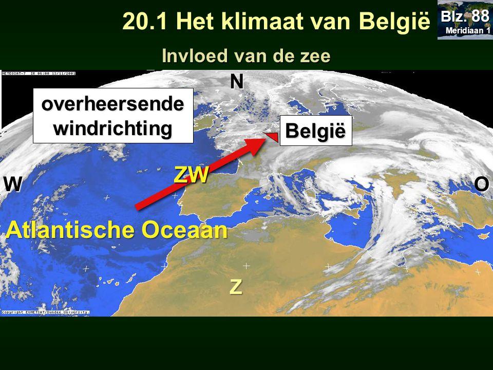 Atlantische Oceaan WO N Z ZW overheersende windrichting België 20.1 Het klimaat van België Invloed van de zee Meridiaan 1 Meridiaan 1 Blz. 88