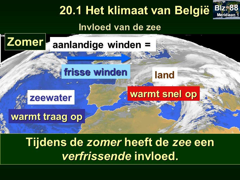 Invloed van de zee Zomer zeewater warmt traag op aanlandige winden = frisse winden Tijdens de zomer heeft de zee een verfrissende invloed. land warmt