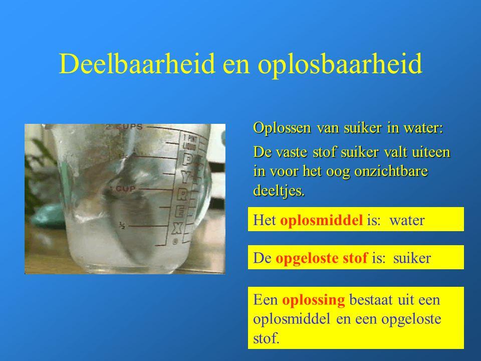 Deelbaarheid en oplosbaarheid Oplossen van suiker in water: Het oplosmiddel is:water De opgeloste stof is:suiker De vaste stof suiker valt uiteen in v