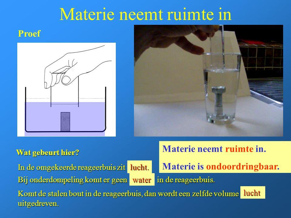 Materie neemt ruimte in In de omgekeerde reageerbuis zit … Bij onderdompeling komt er geen … in de reageerbuis. Komt de stalen bout in de reageerbuis,