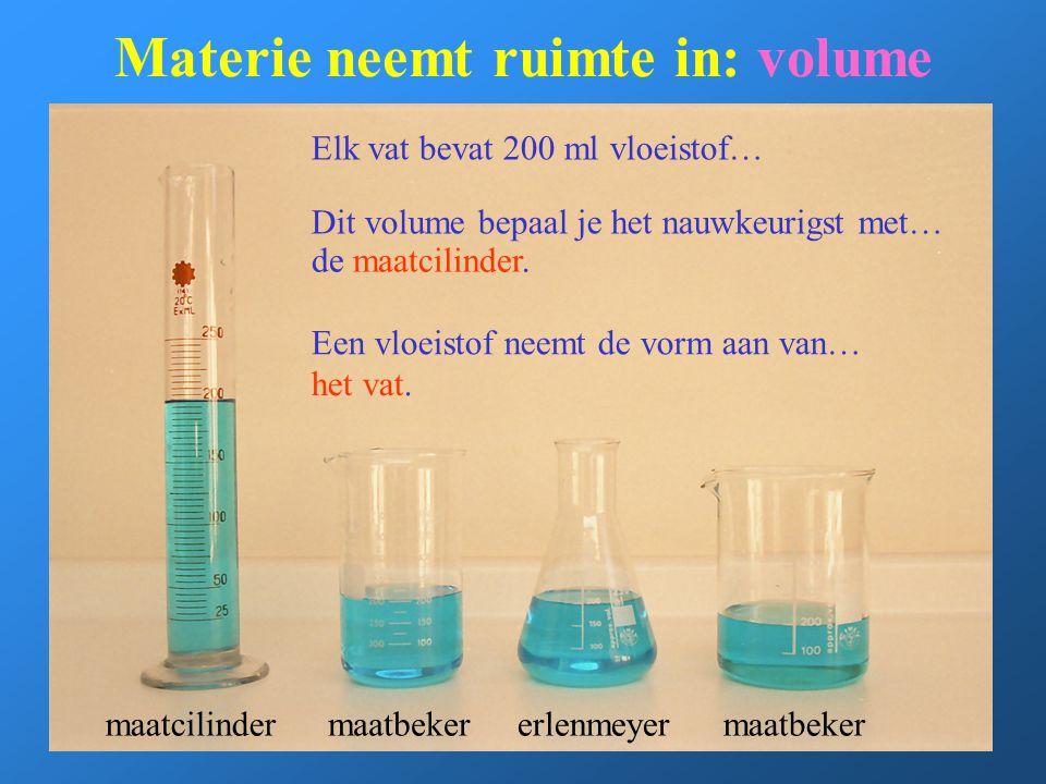 Materie neemt ruimte in: volume maatcilindermaatbekererlenmeyermaatbeker Elk vat bevat 200 ml vloeistof… Dit volume bepaal je het nauwkeurigst met… de