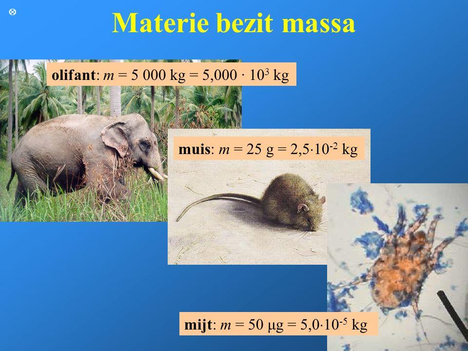 Materie bezit massa olifant: m = 5 000 kg = 5,000 · 10 3 kg muis: m = 25 g = 2,5  10 -2 kg mijt: m = 50 μg = 5,0  10 -5 kg 