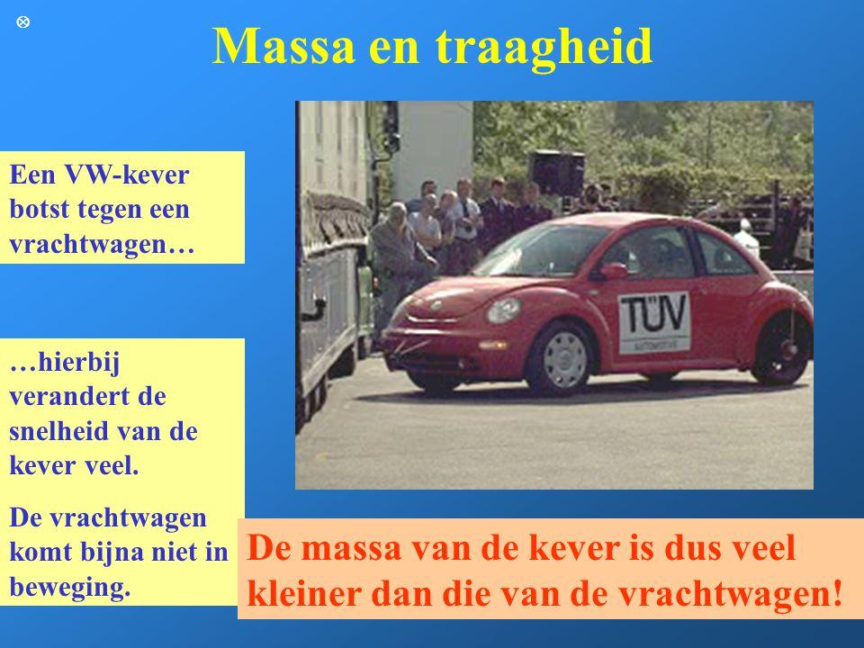 Massa en traagheid Een VW-kever botst tegen een vrachtwagen… …hierbij verandert de snelheid van de kever veel. De vrachtwagen komt bijna niet in beweg