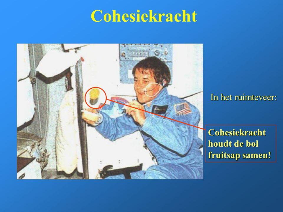Cohesiekracht In het ruimteveer: Cohesiekracht houdt de bol fruitsap samen!
