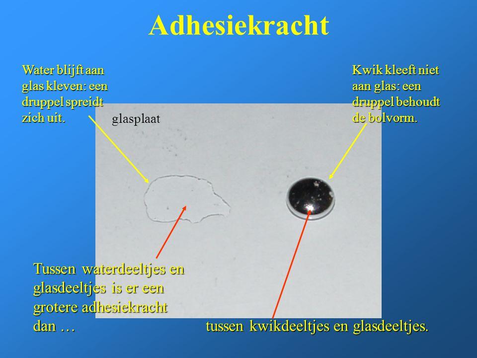 Adhesiekracht Tussen waterdeeltjes en glasdeeltjes is er een grotere adhesiekracht dan … glasplaat Water blijft aan glas kleven: een druppel spreidt z