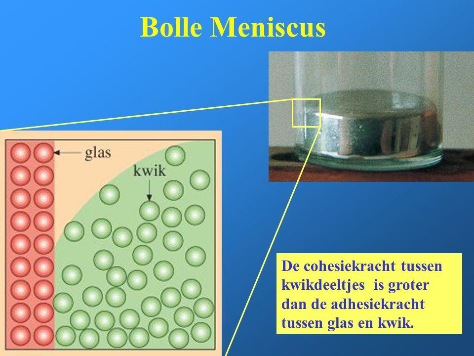 Bolle Meniscus De cohesiekracht tussen kwikdeeltjes is groter dan de adhesiekracht tussen glas en kwik.